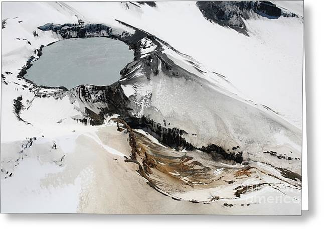 Aerial View Of Snow-covered Ruapehu Greeting Card by Richard Roscoe