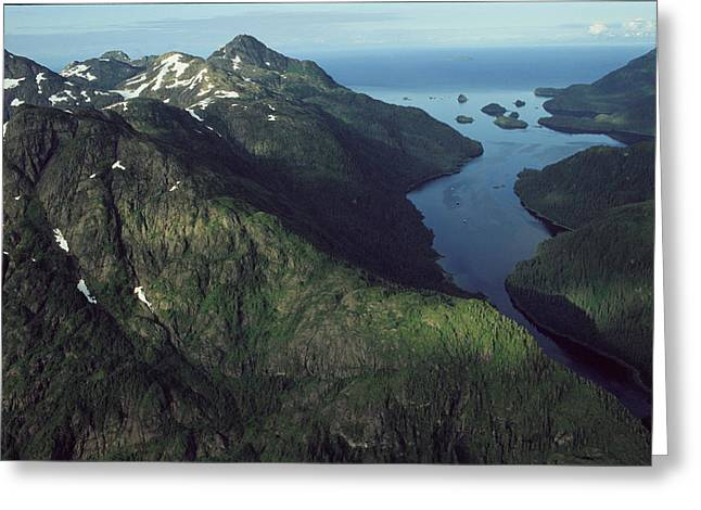 Aerial View Of The Alaskan Shores Greeting Card