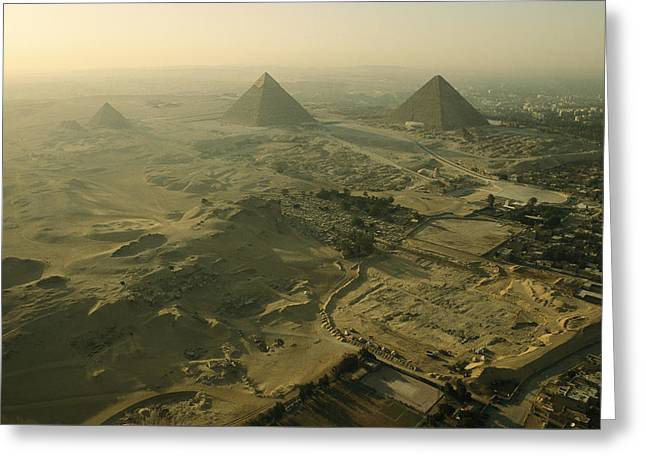 Aerial View Of The Pyramids Of Giza Greeting Card