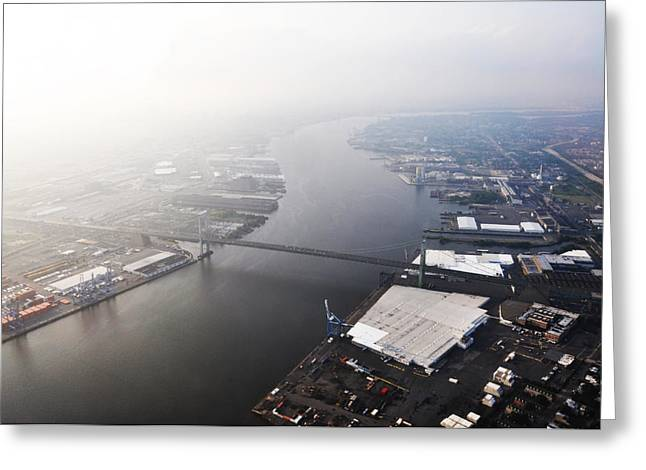 Aerial View Of The Walt Whitman Bridge On The Delaware River Greeting Card by Bill Cannon