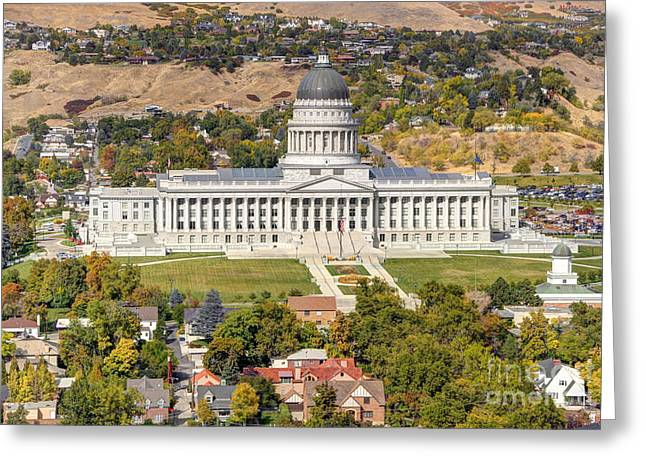 Aerial View Of Utah State Capitol Building Greeting Card by Gary Whitton