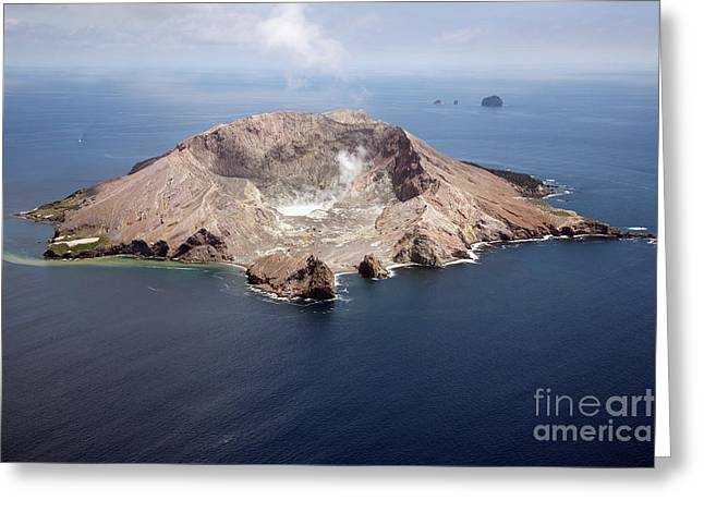 Aerial View Of White Island Volcano Greeting Card by Richard Roscoe