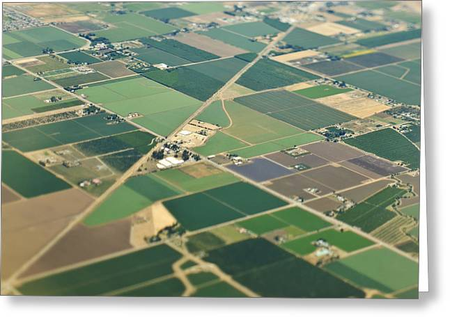 Aerial View Roads In An Agricultural Community Greeting Card by Eddy Joaquim