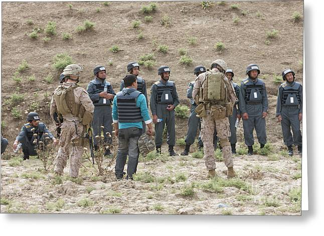 Afghan Police Students Listen To U.s Greeting Card by Terry Moore