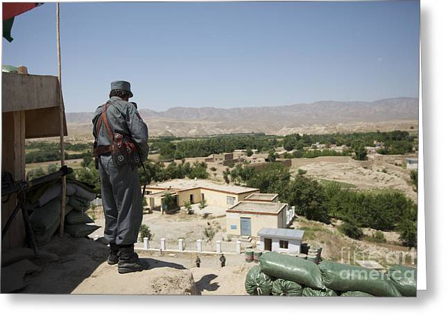 Afghan Policeman Standing Greeting Card by Terry Moore
