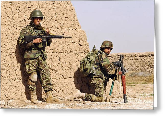 Afghan Soldiers Conduct A Dismounted Greeting Card by Stocktrek Images
