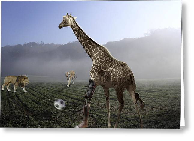 African Animal Soccer Greeting Card by Nafets Nuarb