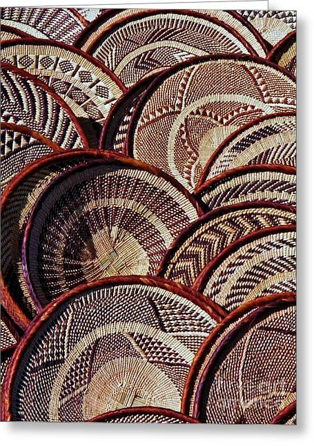 Greeting Card featuring the photograph African Art Baskets by Werner Lehmann