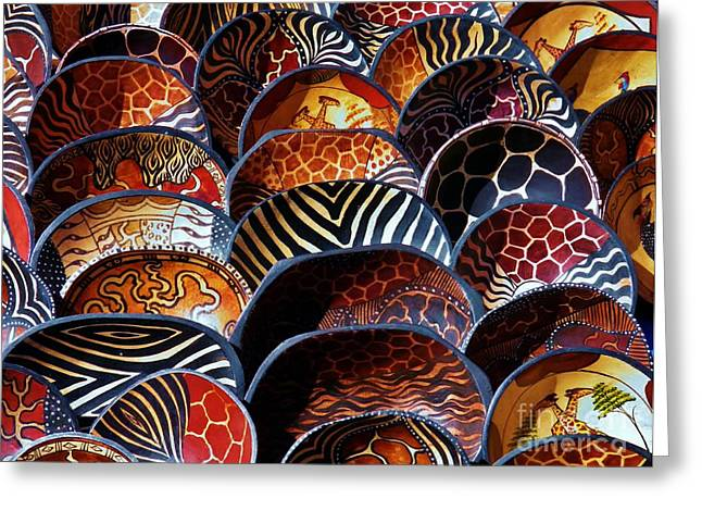 African Art  Wooden Bowls Greeting Card