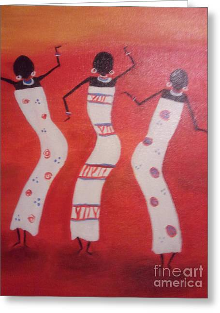 African Dance Greeting Card by Lea Kirby