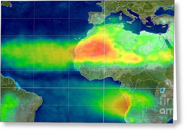 African Dust Storm, Satellite Image Greeting Card by Dr. Jay Herman / NASA