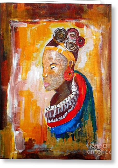 African Goddess Greeting Card by EvaMaria Stollmayer