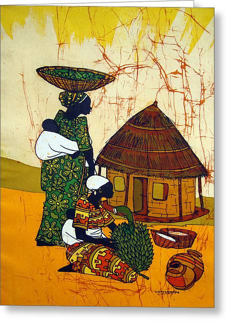 African Home Stead Greeting Card by Joseph Kalinda
