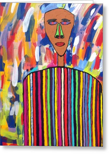 African In Strips Greeting Card by Russell Simmons