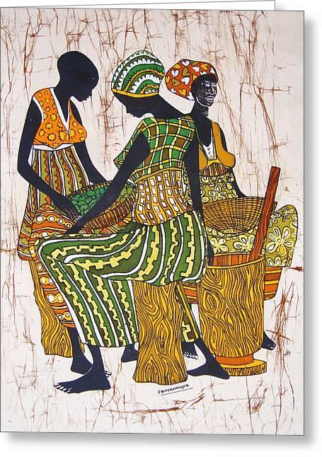 African Pounders Greeting Card by Joseph Kalinda