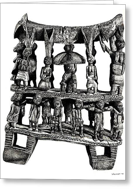 African Tribal Seat  Greeting Card by Adendorff Design