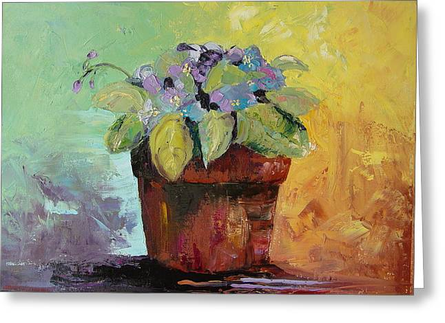 African Violet Greeting Card by Carol Berning