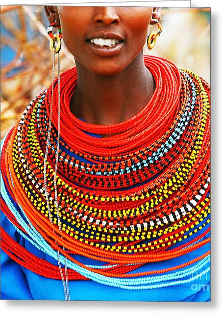 African Woman With Traditional Accessories Greeting Card by Anna Om