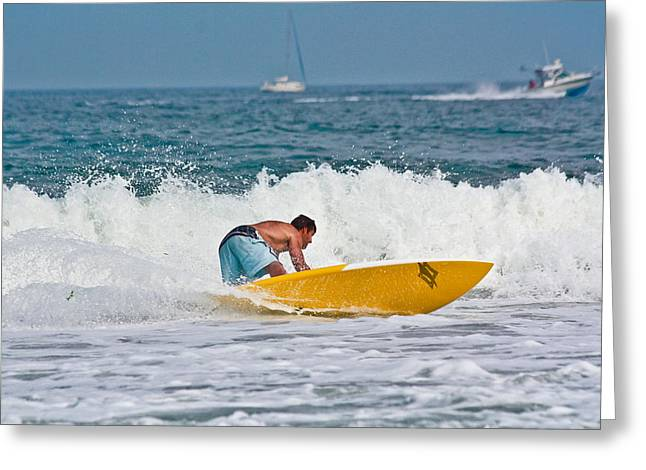Greeting Card featuring the photograph After Catching A Great Wave by Ann Murphy