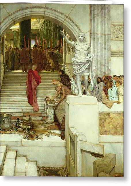 After The Audience Greeting Card by Sir Lawrence Alma-Tadema