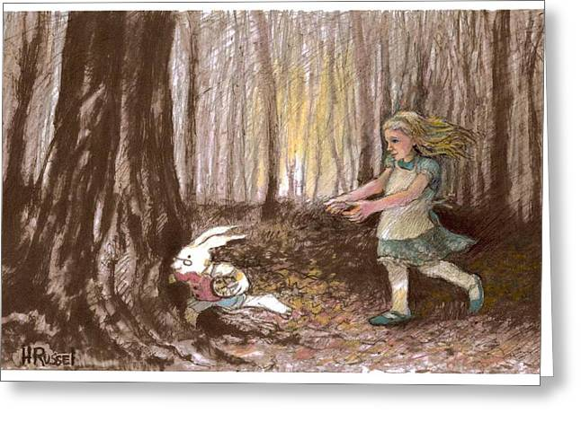 After The Bunny Greeting Card by Herb Russel