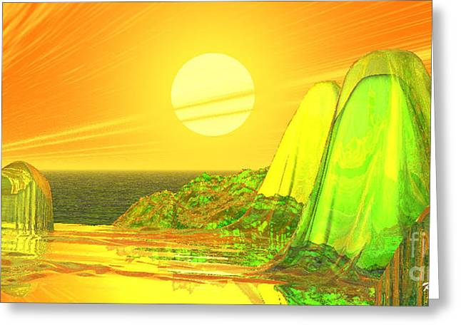 Greeting Card featuring the digital art Green Crystal Hills by Kim Prowse