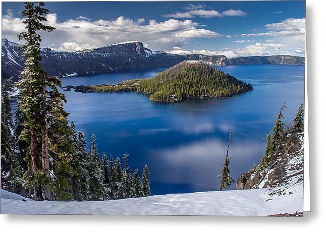 Afternoon Clearing At Crater Lake Greeting Card by Greg Nyquist