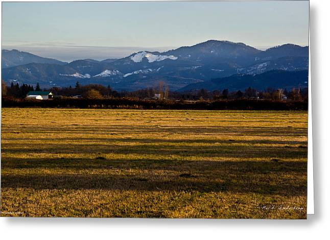 Afternoon Shadows Across A Rogue Valley Farm Greeting Card by Mick Anderson