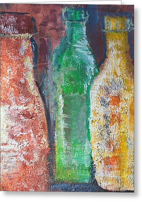 Aged Bottles Greeting Card by Janice Gelona