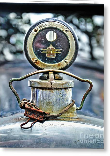 Aged Boyce Moto-meter With Added Paper Clip Greeting Card by Kaye Menner