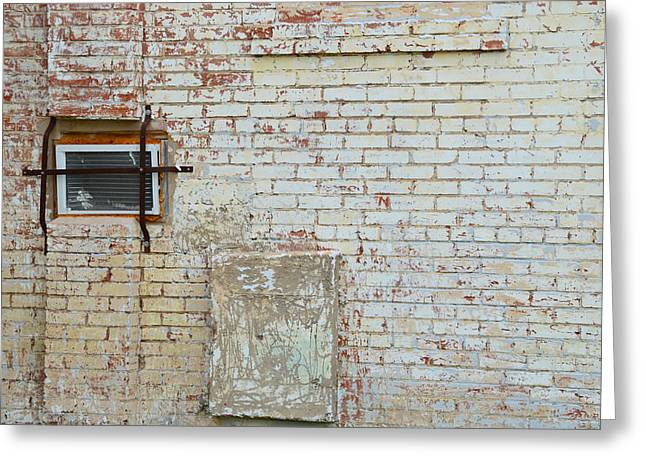 Aged Brick Wall With Character Greeting Card