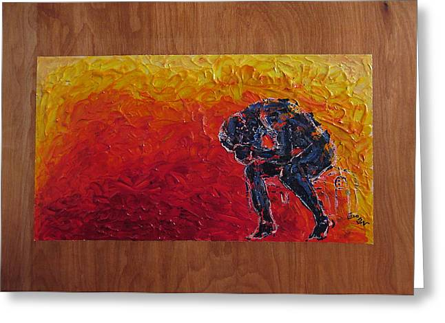 Greeting Card featuring the painting Agony Doubled Over In Flames On Wood Panel by M Zimmerman