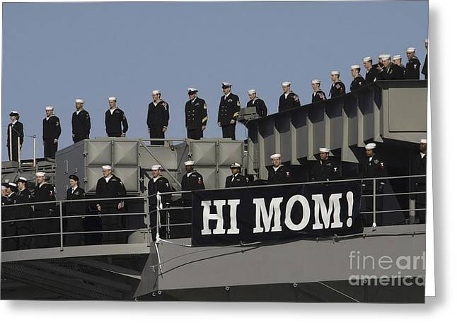 Ailors And Marines Man The Rails Aboard Greeting Card