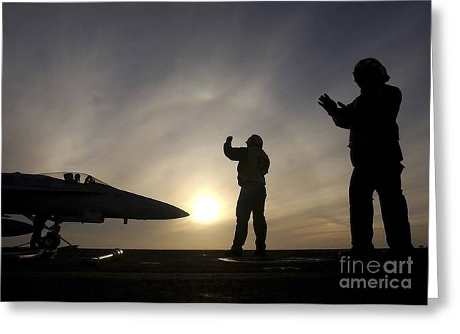 Ailors Give Taxi Signals To An Fa-18 Greeting Card