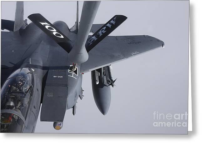 Air Refueling A F-15e Strike Eagle Greeting Card by Daniel Karlsson