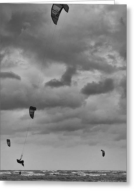 Airborne Kite Surfer Greeting Card by Douglas Barnard