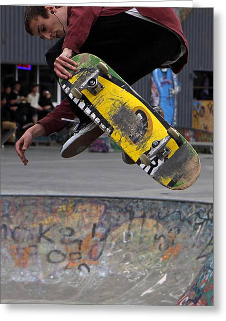 Airbourne Skateboarder Greeting Card by Urban Shooters