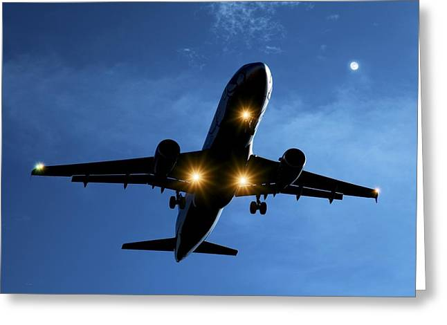Airbus A320 Airliner Landing At Night Greeting Card