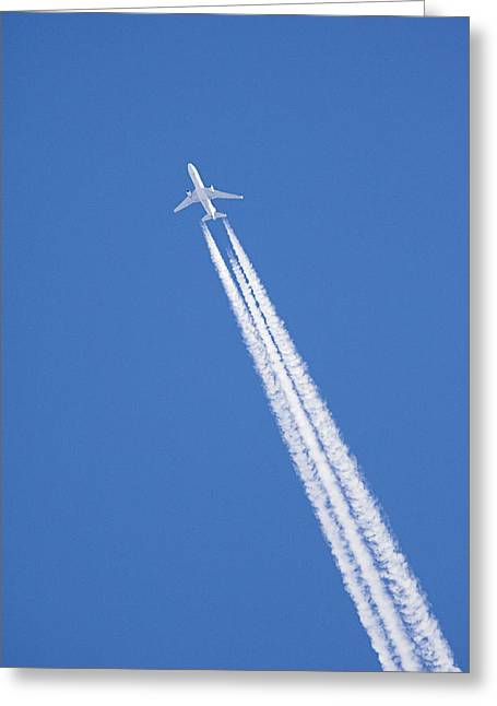 Aircraft Contrail Greeting Card by Duncan Shaw