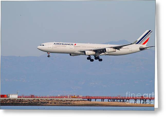 Airfrance Airlines Jet Airplane At San Francisco International Airport Sfo . 7d12219 Greeting Card by Wingsdomain Art and Photography