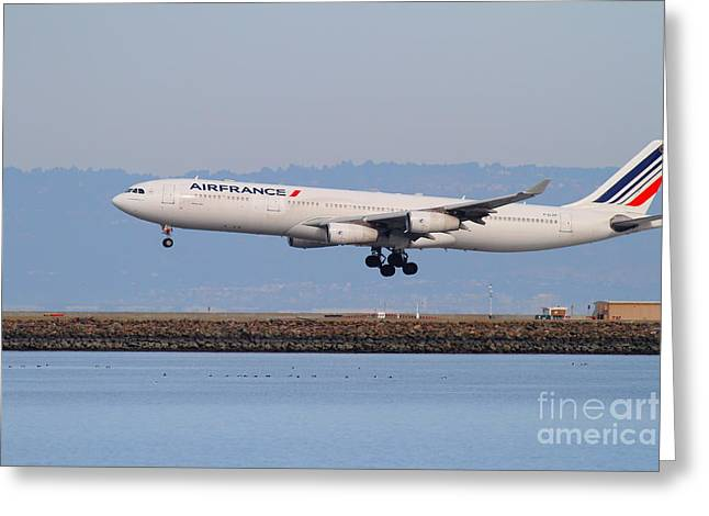 Airfrance Airlines Jet Airplane At San Francisco International Airport Sfo . 7d12223 Greeting Card by Wingsdomain Art and Photography
