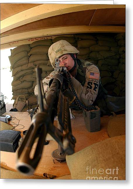 Airman Mans An M-60 Machine Gun Greeting Card by Stocktrek Images