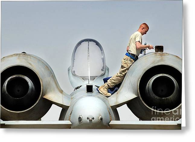Airman Performs An Intake And Exhaust Greeting Card by Stocktrek Images