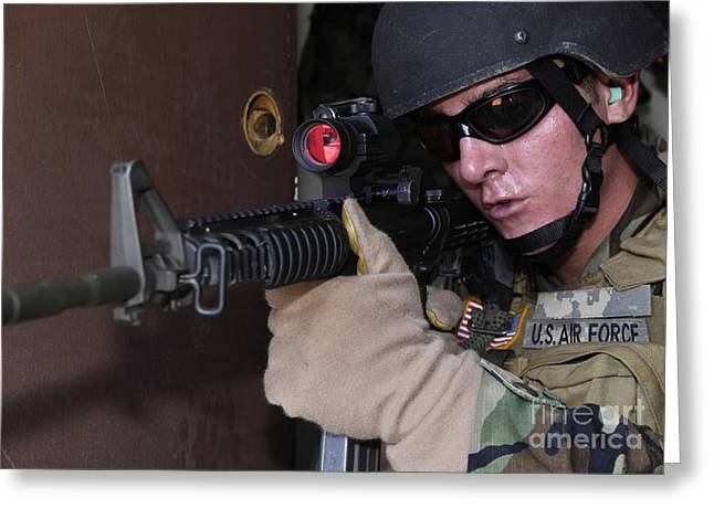 Airman Posts Security At The Front Door Greeting Card