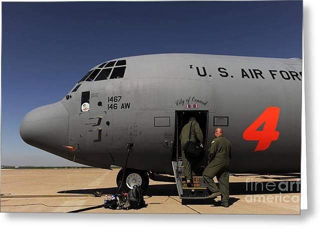 Airmen Board A C-130j Hercules At Dyess Greeting Card by Stocktrek Images