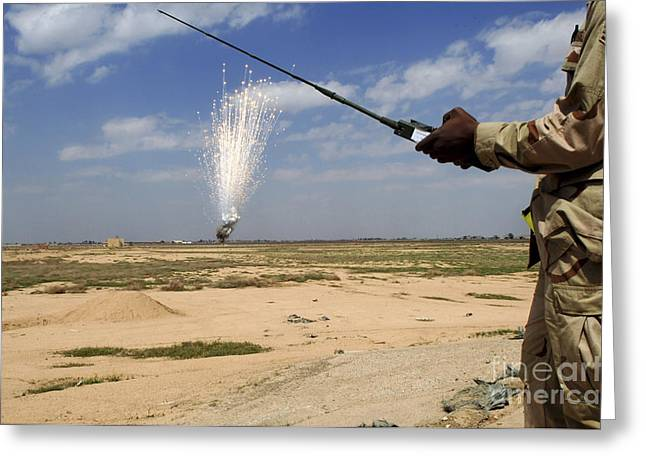 Airmen Conduct A Controlled Detonation Greeting Card by Stocktrek Images