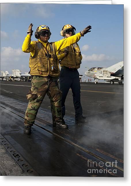 Airmen Direct An Fa-18c Hornet Greeting Card by Stocktrek Images