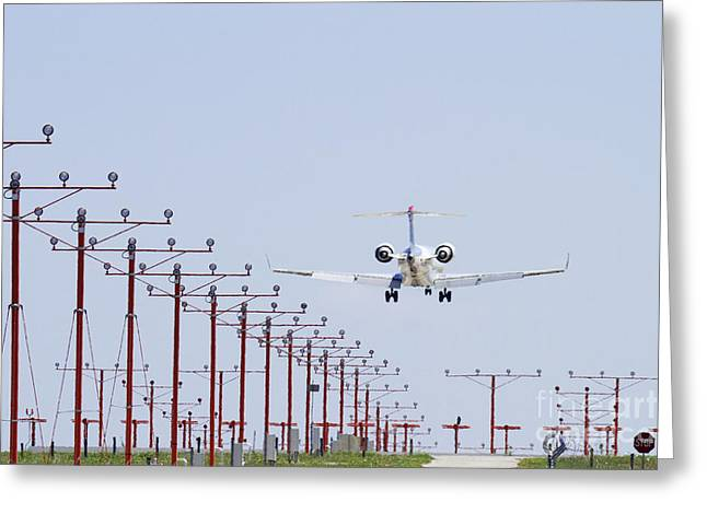 Airplane Landing Greeting Card by Jeremy Woodhouse