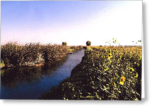 Airport Canal Greeting Card by Eunice Olson