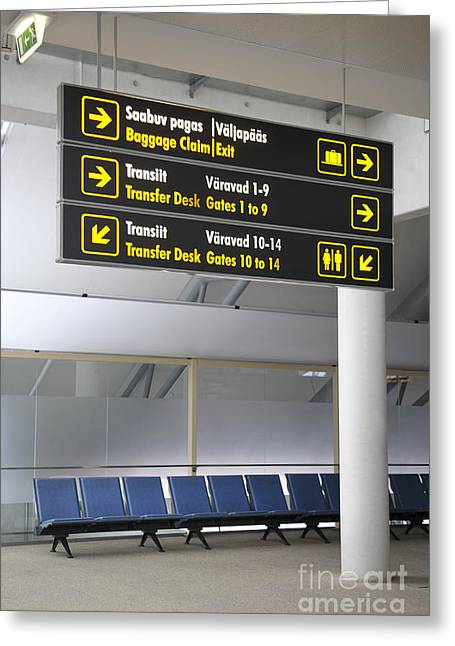 Airport Directional Signs Greeting Card by Jaak Nilson